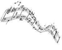 Notes and lines. Music background with different notes on the white royalty free illustration