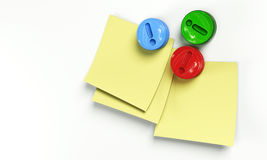 Notes with magnets 3d model Royalty Free Stock Photography