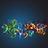 Notes music background vector illustration
