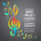Notes Music Concert Banner Colorful Modern Musical Poster. Flat Vector Illustration Stock Images