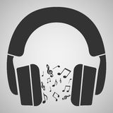 Notes music headphones Royalty Free Stock Photography