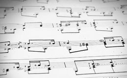 Notes and musical staves. Musical staves with five horizontal lines and different notes Royalty Free Stock Photos