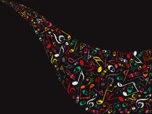 Notes musicales de rétro couleur Photographie stock