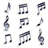 Notes musicales réglées Photos stock