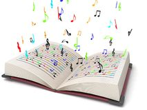 notes musicales trois de vol dimensionnel illustration stock