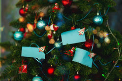 Notes on a New Year or Christmas tree royalty free stock photos
