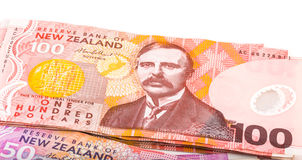 Notes in New Zealand currency. Close up image of one hundred Dollar notes in New Zealand currency Stock Photo