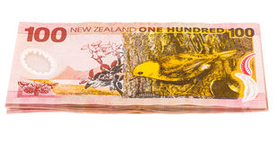 Notes in New Zealand currency. Close up image of one hundred Dollar notes in New Zealand currency Royalty Free Stock Photography