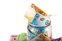 Notes in New Zealand currency Stock Images