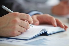 Notes in notebook Royalty Free Stock Photos