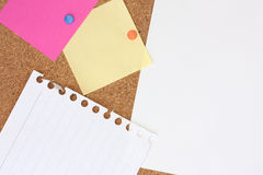 Notes on a noticeboard Royalty Free Stock Images