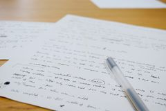 Notes with Office Pen and Paper Stock Image