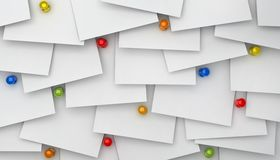 Notes paper with red push pins Royalty Free Stock Image