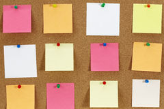 Notes papers on the board Royalty Free Stock Photo