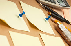 Notes on the pasteboard background. Many reminder notes on the pasteboard background Stock Image