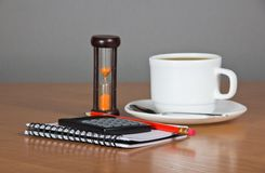 Notes, pencil, calculator, cup of coffee Royalty Free Stock Image