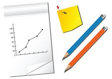 Notes and Pencils. Notebook, pinned note and pencils Illustration Royalty Free Stock Images