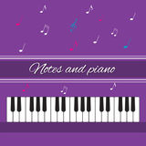 Notes and piano. Piano keys. In shades of purple and notes Royalty Free Stock Photography