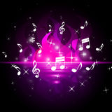 Notes Pink Represents Bass Clef And Burn Stock Image