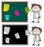 Notes Posting on Notice Board Cartoon Professional Businessman. Vector design royalty free illustration