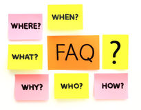 Notes with questions and faq Royalty Free Stock Photos