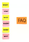 Notes with questions and faq Royalty Free Stock Images