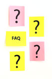 Notes with questions and faq Royalty Free Stock Image