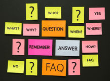 Notes with questions and faq Stock Photos