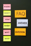 Notes with questions and faq royalty free stock photo