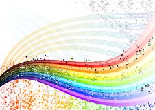 Notes rainbow. Musician rainbow with many notes Stock Image