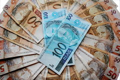 Notes 50 and 100 reais of Brazil Royalty Free Stock Images