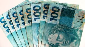 Notes 100 Real Brazil Stock Photo