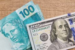 Notes of Real, Brazilian currency. Money from Brazil. Money from Brazil. Notes of Real, Brazilian currency. Concept of economy, exchange, and business. Money Stock Photo
