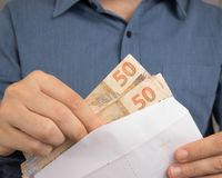 Notes of Real, Brazilian currency. Money from Brazil. royalty free stock photos