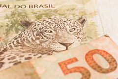 Notes of Real, Brazilian currency. Money from Brazil. Money from Brazil. Notes of Real, Brazilian currency. Concept of savings, salary, payment and funds royalty free stock photography