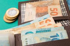 Notes of Real, Brazilian currency. Money from Brazil. Money from Brazil. Notes of Real, Brazilian currency. Concept of economy, inflation and business. wallet royalty free stock images