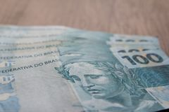 Notes of Real, Brazilian currency. Money from Brazil. stock images