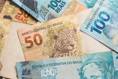 Notes of Real, Brazilian currency. Money from Brazil. Money from Brazil. Notes of Real, Brazilian currency. Concept of savings, salary, payment and funds. Many stock photo