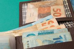 Notes of Real, Brazilian currency. Money from Brazil. Money from Brazil. Notes of Real, Brazilian currency. Concept of savings, salary, payment and funds Royalty Free Stock Image