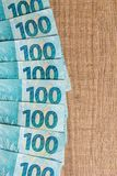 Notes of Real, Brazilian currency. Money from Brazil. Money from Brazil. Notes of Real, Brazilian currency. Concept of savings, salary, payment and funds. Group Royalty Free Stock Image