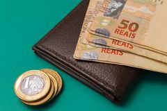 Notes of Real, Brazilian currency. Money from Brazil. Money from Brazil. Notes of Real, Brazilian currency. Concept of savings, salary, payment and funds Royalty Free Stock Images