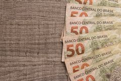 Notes of Real, Brazilian currency. Money from Brazil. Money from Brazil. Notes of Real, Brazilian currency. Concept of savings, salary, payment and funds. Group Stock Photos