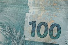 Notes of Real, Brazilian currency. Money from Brazil. Money from Brazil. Notes of Real, Brazilian currency. Concept of savings, salary, payment and funds. close Royalty Free Stock Photography