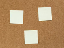 Notes reminders on the cork board Stock Image