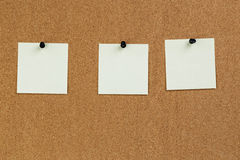 Notes reminders on the cork board Stock Images