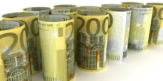 200 notes Rolls d'euro illustration de vecteur