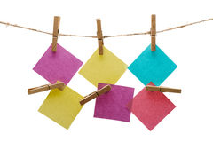 Notes on a rope with clothespin Royalty Free Stock Image