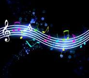 Notes rougeoyantes de musique Images libres de droits