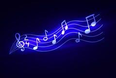 Notes rougeoyantes de musique de vecteur, lumières magiques, fond d'illustration d'étincelle illustration libre de droits