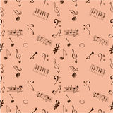 Notes seamless pattern brown Royalty Free Stock Image